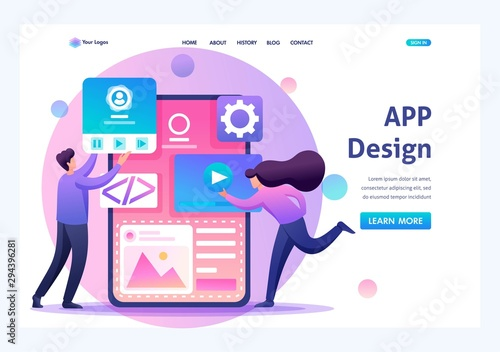 Young people are engaged in mobile application design, website pages development Wallpaper Mural