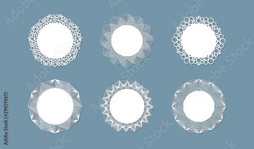 Valokuva Lasercut lace doily design Round pattern ornament Template mockup of a round whi