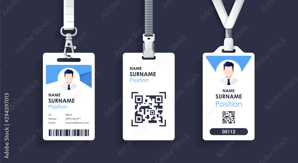 Fototapeta Vector id card template with clasp and lanyard. Blue and white color mock up set. Modern colorful icon collection. Employee ID. Simple realistic design. Cute cartoon style. Flat style illustration.