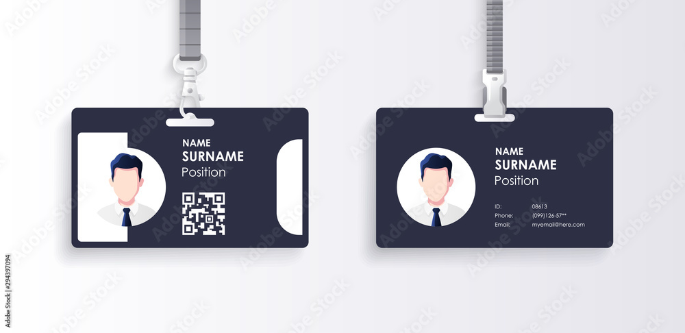 Fototapety, obrazy: Horizontal id card template with clasp and lanyard. Blue and white color mock up set. Modern colorful icon collection. Employee ID. Simple realistic design. Cute cartoon style. Flat style illustration