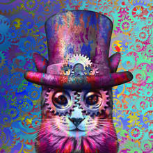 Steampunk Cat Psychedelic Art