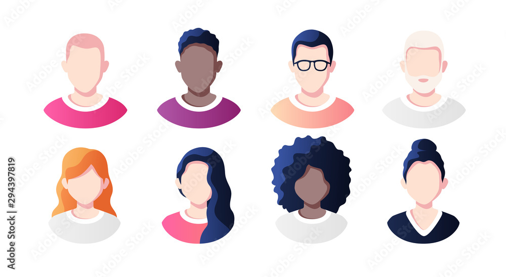 Fototapeta People avatars set isolated on a white background. Profile picture icons. Male and female faces. Cute cartoon modern simple design. Beautiful colorful template. Flat style vector illustration.