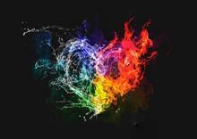 炎と水がハートの形に...
