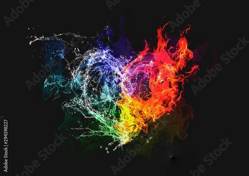 Fotografie, Obraz 炎と水がハートの形に合体