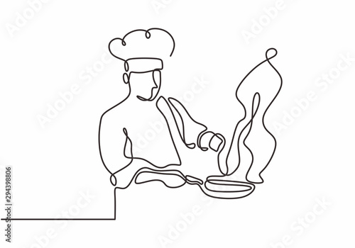 Obraz continuous line drawing of chef cooking big meal food vector illustratiom - fototapety do salonu