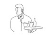 continuous one line drawing of waitress holding a serving tray . Character employee of a cafe, a restaurant at work.