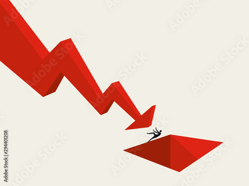 Cuadros en Lienzo Business and financial crisis and depression vector concept with businessman pushed into hole by downward arrow