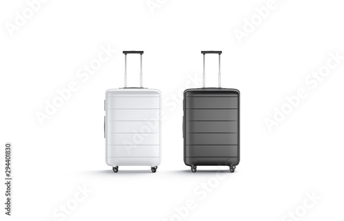 Fotografie, Obraz Blank black and white suitcase with handle mockup stand isolated