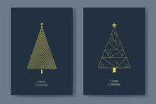 Two Christmas Tree Card Vector Templates With Modern Shape Geometric Lines Xmas Trees. Winter Holiday Postcard Or Poster In Letter Format.