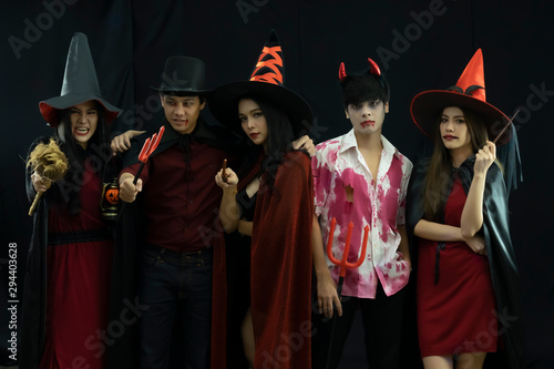Halloween Party of a group of freinds. Halloween concept. Wallpaper Mural