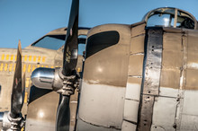 B-17 Flying Fortress Curtiss-Wright R-1820 Cyclone Radial Engine Mounted On Wing  Closeup