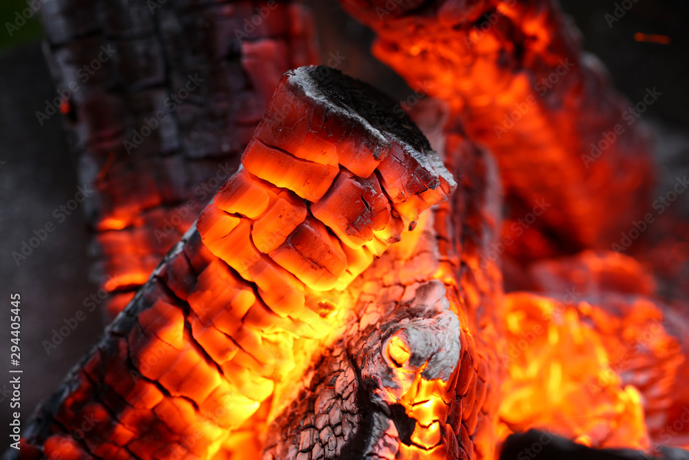 Fototapety, obrazy: Focus on full of flames campfire possessing dead highly efficient type of forest wood specially cut for hot heat release usage in large scale amounts production. Blurred background