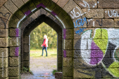 Photo  Liverpool castle medieval stone passageway  graffiti Bolton Manchester England