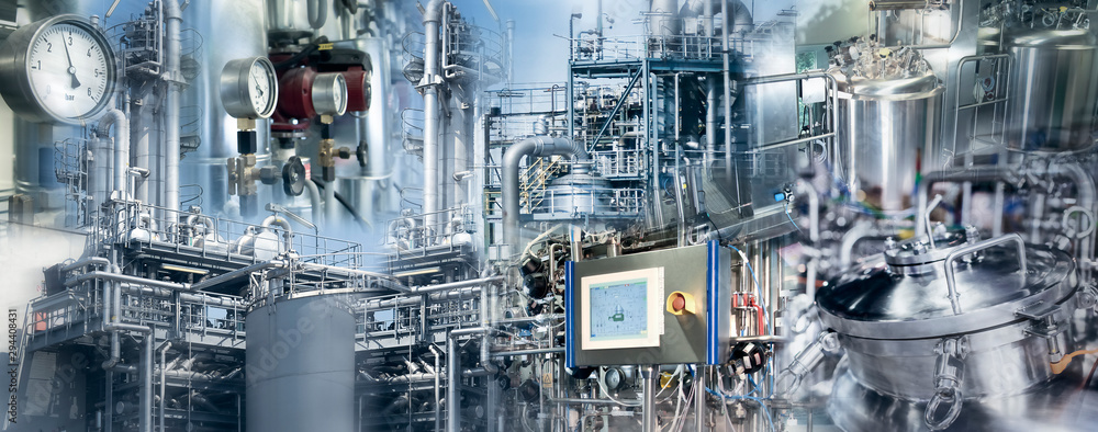 Fototapety, obrazy: Production in the chemical and pharmaceutical industry