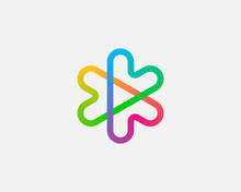 Abstract Colorful Linear Logo Icon Design Abstract Modern Minimal Gradient Style Illustration. Hearts Arrows Plus Play Star Vector Emblem Sign Symbol Mark Logotype