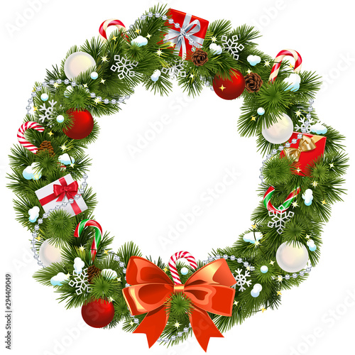 Fototapeta Vector Snowy Christmas Wreath obraz