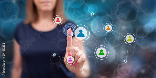 Woman touching a social media network