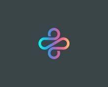 Abstract Linear Plus Path Cross Human Gradient Logo Icon Design Modern Minimal Style Illustration. Motion Wave Vector Line Emblem Sign Symbol Mark Logotype