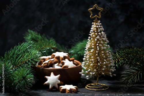 decorative christmas tree and gingerbread cookie Canvas
