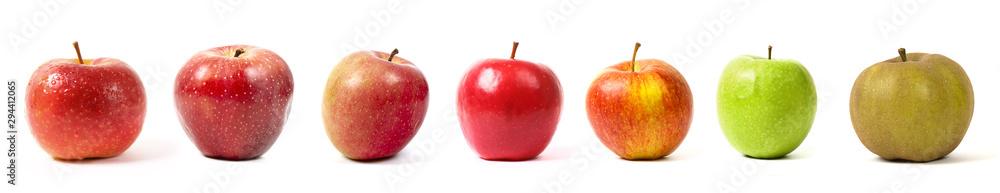 Fototapeta différentes sortes de pommes sur fond blanc