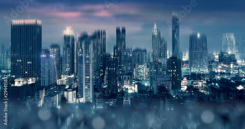 City downtown background with abstract effect at night.
