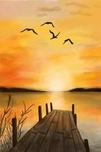Illustration Of Orange Sunset ...