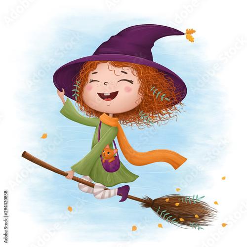 Obraz na plátně Funny little witch flying on a broomstick