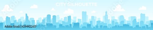 Obraz Seamless silhouette of the city. Cityscape with buildings. Simple blue background. Urban landscape. Beautiful template. Modern city with layers. Flat style vector illustration. - fototapety do salonu