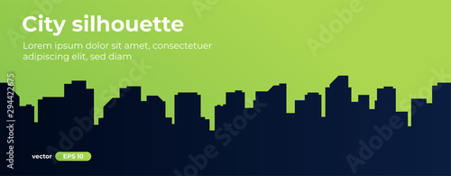 Foto auf AluDibond Lime grun Seamless silhouette of the city. Cityscape with buildings. Simple green background. Urban landscape. Beautiful template. Modern city with layers. Flat style vector illustration.