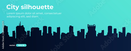 Vert corail Seamless silhouette of the city. Cityscape with buildings. Simple blue background. Urban landscape. Beautiful template. Modern city with layers. Flat style vector illustration.