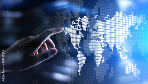 World wide map hologram on virtual screen. Global business and telecommunication technology concept.