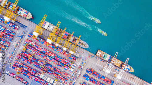 Montage in der Fensternische Shanghai Top view of Deep water port with cargo ship and containers. It is an import and export cargo port where is a part of shipping dock and export products worldwide