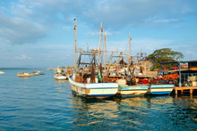 A Group Of Fishing Boats Docked In The Bay Of Puntarenas, Costa Rica During A Warm Sunny Day.