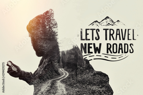 Double exposure landscape with bearded traveler, road and lettering Tableau sur Toile