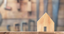 Wooden House Model On Wooden T...