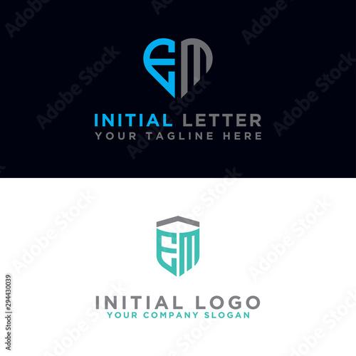 EM Logo Set is a modern graphic design, Inspirational logo design for all companies Wallpaper Mural