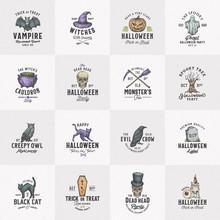 Vintage Style Halloween Logos ...