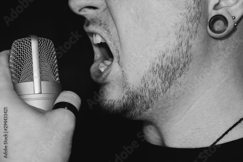 Man screaming on the microphone Canvas Print