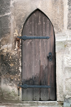 Detailed View Of A Medieval Gothic Castle Door.