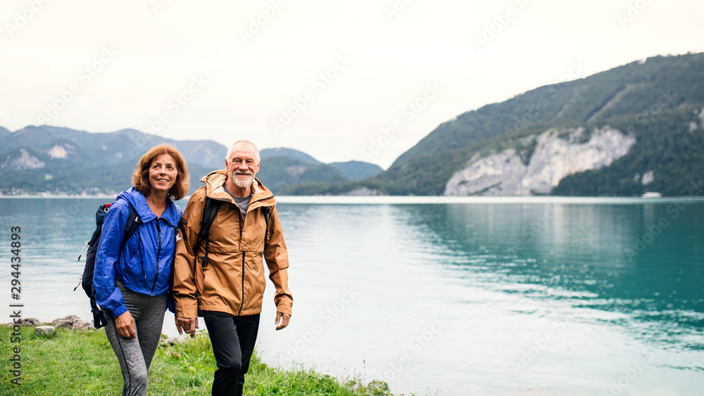 Fototapety, obrazy: A senior pensioner couple hiking by lake in nature, holding hands.