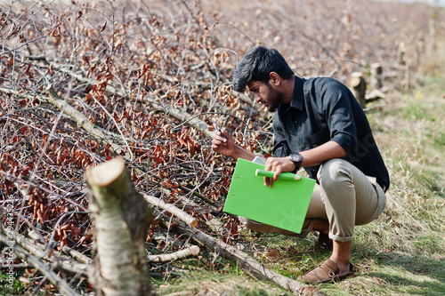 Fototapeta South asian agronomist farmer with clipboard inspecting cut trees in the farm garden. Agriculture production concept. obraz