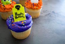 Purple Happy Halloween Cupcakes