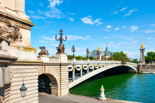 Poster Paris Alexandre III bridge and Seine river in Paris, France. Famous travel destination, summer cityscape