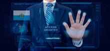 Finger Print Biometric Scanning Identification System. Businessman Scan Fingerprint Biometric Identity And Approval. San Mar InoNationality