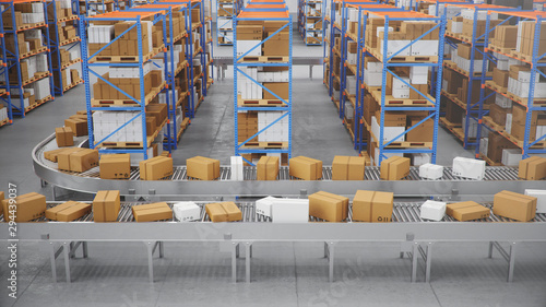 Fotomural Packages delivery, parcels transportation system concept, cardboard boxes on conveyor belt in warehouse