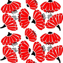 Red Poppy Flowers Seamless Pattern. Trace Illustration