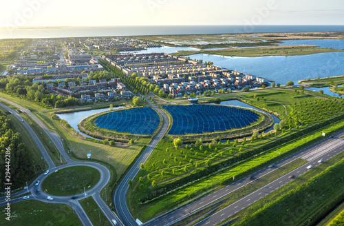 Aerial shot of a modern sustainable neighbourhood in Almere, The Netherlands