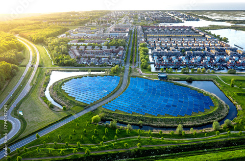 Obraz Aerial shot of a modern sustainable neighbourhood in Almere, The Netherlands - fototapety do salonu