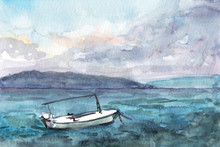 Watercolor Painting Of The Seascape In Croatia
