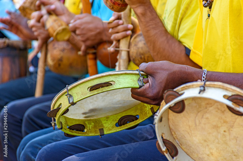 Brazilian musical instrument called berimbau, Tambourine and others usually used Fototapete